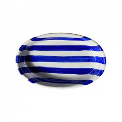 Plat ovale 25CM Rayures Bleues