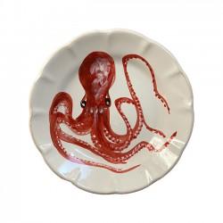 Assiette Pieuvre Rouge -...