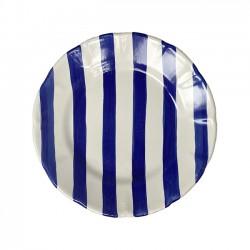Grande Assiette Rayures Bleues