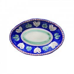 Plat Ovale 35 cm Poule Bleu...