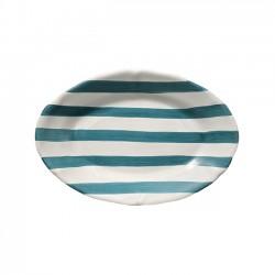 Plat ovale 35cm Rayure Vert