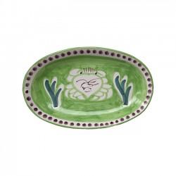 Plat Ovale 25 cm Crabe Vert