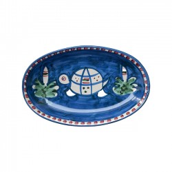 Plat Ovale 25 cm Tortue Bleu