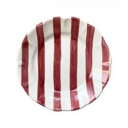 Assiette 21 cm Rayure Rouge