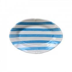 Plat ovale 35cm Rayure Bleu...