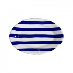 Plat ovale 35cm Rayure Bleu