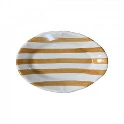 Plat ovale 35cm Rayure Ocre