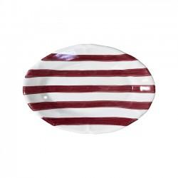 Plat ovale 35cm Rayure Rouge